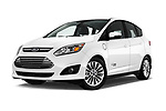 Stock pictures of low aggressive front three quarter view of 2017 Ford C-Max Energi-Titanium 5 Door Mini MPV Low Aggressive