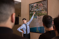 An employee at the Selge Beach hotel near Alanya, southern Turkey, shows visiting travel agents from across Europe the layout of the hotel, including a special enclosed women only area. The hotel is one of many halal hotels catering to the religiously observant Muslim tourist.
