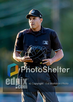 29 August 2019: MiLB Umpire Cliburn Rondon works home plate during a game between the Connecticut Tigers and the Vermont Lake Monsters at Centennial Field in Burlington, Vermont. The Tigers defeated the Lake Monsters 6-2 in the first game of their NY Penn League double-header.  Mandatory Credit: Ed Wolfstein Photo *** RAW (NEF) Image File Available ***