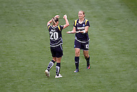 LA Sol Christie Welsh and Camille Abily celebrate the second goal of the match. The LA Sol defeated the Washington Freedom 2-0 in the opening game of Womens Professional Soccer at Home Depot Center stadium on Sunday March 29, 2009.  .