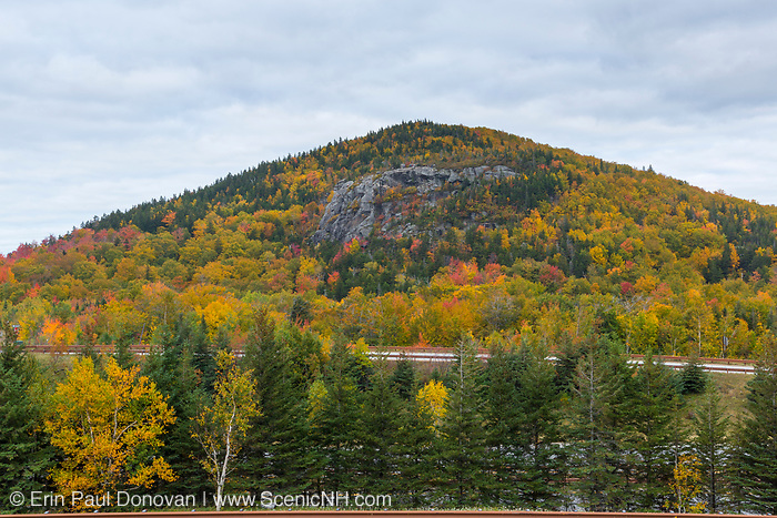 Artists Bluff in Franconia, New Hampshire on a cloudy autumn October day. Located in the northern portion of Franconia Notch State Park, this rocky outcrop offers excellent views into Franconia Notch.