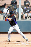 Colorado Rockies minor league infielder Jason Stolz #25 during an instructional league game against the San Francisco Giants at the Salt River Flats Complex on October 4, 2012 in Scottsdale, Arizona.  (Mike Janes/Four Seam Images)
