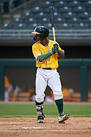 AZL Athletics Gold Elvis Peralta (3) at bat during an Arizona League game against the AZL Giants Black on July 12, 2019 at Hohokam Stadium in Mesa, Arizona. The AZL Giants Black defeated the AZL Athletics Gold 9-7. (Zachary Lucy/Four Seam Images)