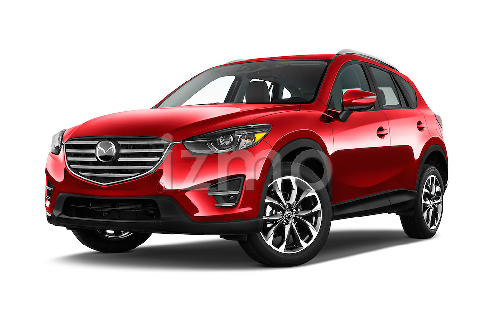 Stock pictures of low aggressive front three quarter view of 2016 Mazda CX-5 Grand-Touring-auto 5 Door SUV Low Aggressive