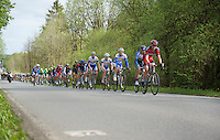 Steven Cummings (GBR/BMC) sets the pace for the peloton  while the breakaway group rides more than 10 minutes up ahead (early on in the race)<br /> <br /> Liège-Bastogne-Liège 2014