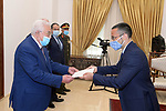 Palestinian President Mahmoud Abbas, receives the Credentials of the Italian Ambassador to the State of Palestine, in the West Bank city of Ramallah, on March 9, 2021. Photo by Thaer Ganaim
