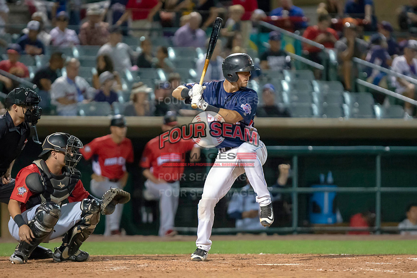 Jack Kruger (14) of the Inland Empire 66ers at bat against the North Division during the 2018 California League All-Star Game at The Hangar on June 19, 2018 in Lancaster, California. The North All-Stars defeated the South All-Stars 8-1.  (Donn Parris/Four Seam Images)