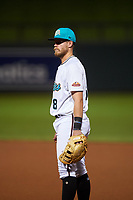 Salt River Rafters first baseman Seth Beer (8), of the Arizona Diamondbacks organization, during an Arizona Fall League game against the Mesa Solar Sox on September 19, 2019 at Salt River Fields at Talking Stick in Scottsdale, Arizona. Salt River defeated Mesa 4-1. (Zachary Lucy/Four Seam Images)