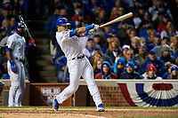 Chicago Cubs Addison Russell (27) bats in the eighth inning during Game 5 of the Major League Baseball World Series against the Cleveland Indians on October 30, 2016 at Wrigley Field in Chicago, Illinois.  (Mike Janes/Four Seam Images)