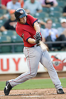Oklahoma CIty catcher Kevin Richardson on Tuesday August 24th, 2010 at the Dell Diamond in Round Rock, Texas.  (Photo by Andrew Woolley / Four Seam Images)