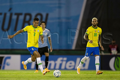 17th November 2020; Centenario Stadium, Montevideo, Uruguay; Fifa World Cup 2022 Qualifying football; Uruguay versus Brazil; Danilo and Douglas Luiz of Brazil