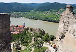 Austria, Lower Austria, UNESCO World Heritage Wachau, view from ruin Duernstein towards wine town Duernstein with the blue-white tower of the Collegiate church across river Danube towards wine village Rossatzbach