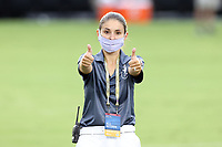 CARY, NC - AUGUST 01: Morgan Birkedal gives two thumbs up during a game between Birmingham Legion FC and North Carolina FC at Sahlen's Stadium at WakeMed Soccer Park on August 01, 2020 in Cary, North Carolina.