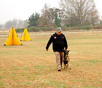 Marc Hayot/Herald Leader Rob Shewmake leads Pike through various obedience exercises to demonstrate how dogs adhere to commands.
