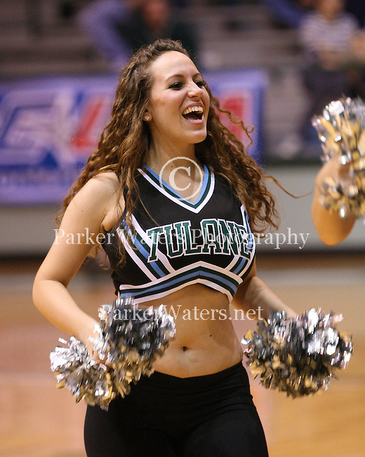 The Tulane University Shockwave Dance Team performs during the Tulane-UNO Basketball game in Fogelman Arena.