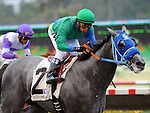 August 8, 2011.Creative Cause ridden by Rafael Bejarano pulling ahead of I'll Have Another to win the Best Pal Stakes at the Del Mar Thoroughbred Club, Del Mar, CA