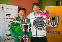 August 24, 2014, Netherlands, Amstelveen, De Kegel, National Veterans Championships, Prizegiving, Winner mens single 55+ Frank Lapré and runner up Jack Willemen (R)<br /> Photo: Tennisimages/Henk Koster