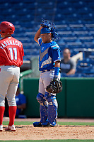 Toronto Blue Jays Geyber Jimenez (14) during an Instructional League game against the Philadelphia Phillies on September 17, 2019 at Spectrum Field in Clearwater, Florida.  (Mike Janes/Four Seam Images)