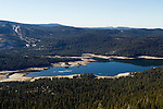 Low water levels in lake during drought, Huntington Lake, Kaiser Wilderness Area, Sierra Nevada, California