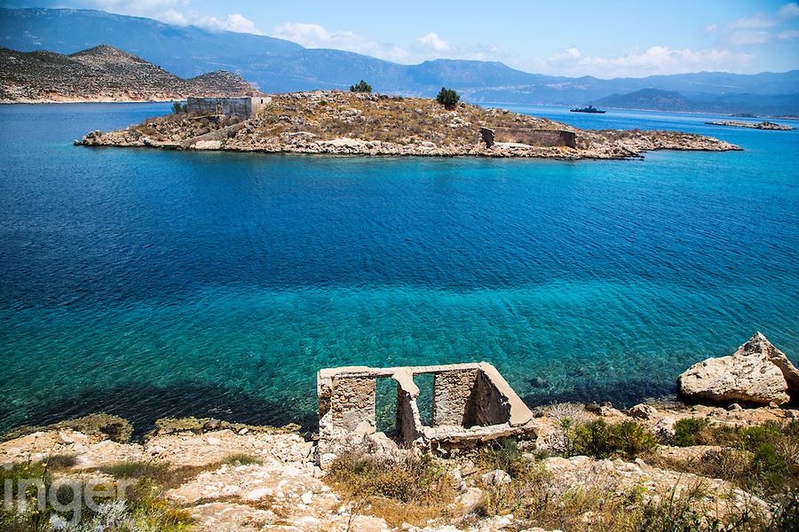Ruins on a coastal islet off Kastellorizo, Greece