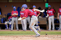 Chris Veach (10) of the Presbyterian College Blue Hose in action in a game against the University of South Carolina Upstate Spartans on Tuesday, March 23, 2021, at Cleveland S. Harley Park in Spartanburg, South Carolina. (Tom Priddy/Four Seam Images)