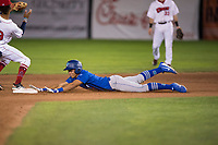Ogden Raptors third baseman Marcus Chiu (13) slides into second base during a Pioneer League game against the Orem Owlz at Home of the OWLZ on August 24, 2018 in Orem, Utah. The Ogden Raptors defeated the Orem Owlz by a score of 13-5. (Zachary Lucy/Four Seam Images)