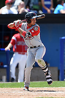 Lowell Spinners shortstop Mauricio Dubon (7) at bat during a game against the Batavia Muckdogs on July 17, 2014 at Dwyer Stadium in Batavia, New York.  Batavia defeated Lowell 4-3.  (Mike Janes/Four Seam Images)
