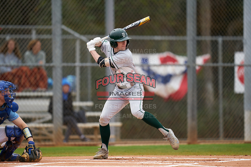 Dartmouth Big Green Justin Murray (5) bats during a game against the Indiana State Sycamores on February 21, 2020 at North Charlotte Regional Park in Port Charlotte, Florida.  Indiana State defeated Dartmouth 1-0.  (Mike Janes/Four Seam Images)
