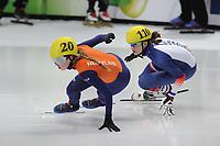 SPEEDSKATING: DORDRECHT: 2016, ISU World Short Track Speedskating Championships, Lara van Ruijven #20 en Selma Poutsma #110 (FRA), ©photo Martin de Jong