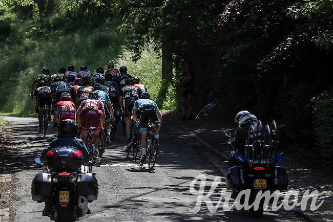 break away group with the first (of 2) passage on the infamous Mur de Huy. <br /> <br /> <br /> Baloise Belgium Tour 2018<br /> Stage 4:  Wanze - Wanze 147.3km