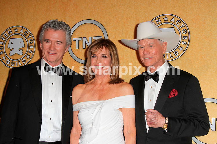 **ALL ROUND PICTURES FROM SOLARPIX.COM**                                             **SYNDICATION RIGHTS FOR UK, AUSTRALIA, DENMARK, PORTUGAL, S. AFRICA, SPAIN & DUBAI (U.A.E) & ASIA (EXCLUDING JAPAN) ONLY**                                                                                  Press Room arrivals for the 18th Annual Screen Actors Guild Awards at the Shrine Auditorium in Los Angeles, CA, USA                                                                .This pic:  Patrick Duffy, Linda Gray and Larry Hagman.JOB REF:   14398    PHZ  Evans    DATE: 29.01.12                                                           **MUST CREDIT SOLARPIX.COM OR DOUBLE FEE WILL BE CHARGED**                                                                      **MUST AGREE FEE BEFORE ONLINE USAGE**                               **CALL US ON: +34 952 811 768 or LOW RATE FROM UK 0844 617 7637**