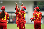 Zhu Mingyue of China celebrates with teammates during their ICC 2016 Women's World Cup Asia Qualifier match between China and Nepal  on 11 October 2016 at the Kowloon Cricket Club in Hong Kong, China. Photo by Marcio Machado / Power Sport Images