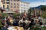 Switzerland, Ticino, Lugano: Cafe at Piazza delle Riforma   Schweiz, Tessin, Lugano: Cafe auf der Piazza della Riforma