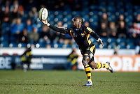 Photo: Richard Lane/Richard Lane Photography. London Wasps v Gloucester Rugby. Aviva Premiership. 17/02/2013. Wasps' Christian Wade gathers the ball for a try.