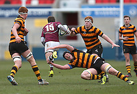 CAI vs RBAI | Tuesday 3rd March 2015<br /> <br /> Mark Maris tackles Matthew Smyth during the 2015 Ulster Schools Cup Semi-Final between Coleraine Inst and RBAI at the Kingspan Stadium, Ravenhill Park, Belfast, Northern Ireland.<br /> <br /> Picture credit: John Dickson / DICKSONDIGITAL
