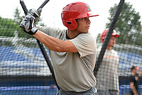 Batavia Muckdogs infielder Iramis Olivencia (7) in the batting cage during practice on June 10, 2014 at Dwyer Stadium in Batavia, New York.  (Mike Janes/Four Seam Images)