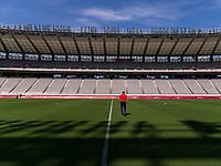 TOKYO, JAPAN - JULY 20: Vlatko Andonovski of the USWNT walks the field after a press conference at Tokyo Stadium on July 20, 2021 in Tokyo, Japan.