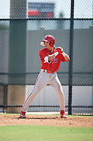 Philadelphia Phillies Simon Muzziotti (31) at bat during a Florida Instructional League game against the Atlanta Braves on October 5, 2018 at the Carpenter Complex in Clearwater, Florida.  (Mike Janes/Four Seam Images)