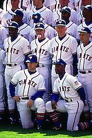 SAN FRANCISCO, CA - Jeff Brantley, Mike Tiny Felder, Dusty Baker, Bob Brenly, Roger Craig, Bob Lillis and other players of the San Francisco Giants pose for a team picture before a turn back the clock game against the Philadelphia Phillies at Candlestick Park in San Francisco, California in 1992. (Photo by Brad Mangin)