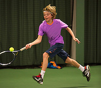 Rotterdam, The Netherlands, 07.03.2014. NOJK ,National Indoor Juniors Championships of 2014, 12and 16 years, Liam Liles (NED)<br /> Photo:Tennisimages/Henk Koster