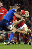 Sam Warburton of Wales (R) is brought down during the Wales v France, 2016 RBS 6 Nations Championship, at the Principality Stadium, Cardiff, Wales, UK