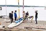 Race to Alaska, human powered, wind powered, all class, boat race, Port Townsend to Ketchikan, <br /> racers prepare at dock, Port Hudson, Port Townsend, Washington State, for Ketchikan, Alaska, long distance racing,