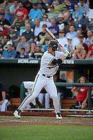 Rhett Wiseman #8 of the Vanderbilt Commodores bats during Game 2 of the 2014 Men's College World Series between the Vanderbilt Commodores and Louisville Cardinals at TD Ameritrade Park on June 14, 2014 in Omaha, Nebraska. (Brace Hemmelgarn/Four Seam Images)