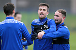 St Johnstone Training…<br />Callum Booth pictured with Chris Kane and Scott Tanser during training at McDiarmid Park ahead of tomorrow's Betfred Cup game against Peterhead.<br />Picture by Graeme Hart.<br />Copyright Perthshire Picture Agency<br />Tel: 01738 623350  Mobile: 07990 594431