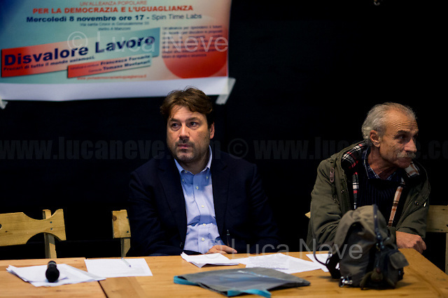 """(From L to R) Tomaso Montanari & Sandro Medici.<br /> <br /> Rome, 08/11/2017. Today, an event called """"Disvalore Lavoro. Precari Di Tutto Il Mondo Uniamoci"""" (Non-Value Work. Precarious Of The World Let Us Unite) was held at the Spin Time Labs. The public debate was hosted by Tomaso Montanari (Art Historian, Professor of Modern Art's History at the University of Naples, and Journalist), Giulia Rodano (Politician) and Sandro Medici (Journalist & Author). Numerous speakers gave speeches in defence of worker's rights and welfare policies, in protest against precarity, poverty, austerity, inequality, lack in job predictability and security, against the devaluation of labour itself. In conclusion, speakers listed a series of proposals about how to reverse the route of the Italian Left and to produce """"Un'Alleanza Popolare Per La Democrazia E L'Eguaglianza"""" (A Popular Alliance for Democracy and Equality). <br /> <br /> For more information please click here: https://www.facebook.com/events/133242454063691/ & http://www.perlademocraziaeluguaglianza.it<br /> <br /> For a video of Tomaso Montanari's speech please click here: https://www.youtube.com/watch?v=GfYHCg22rO4&list=PLnZfFw4qyshNrSq5oJewUVwSueramMyxw&index=22"""