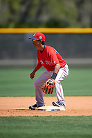 Boston Red Sox Yomar Valentin (10) during practice before a minor league Spring Training game against the Tampa Bay Rays on March 23, 2016 at Charlotte Sports Park in Port Charlotte, Florida.  (Mike Janes/Four Seam Images)