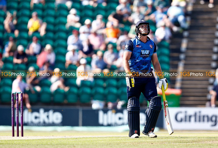 Frustration for George Munsey as he falls four runs short of a maiden century for Kent during Kent Spitfires vs Durham, Royal London One-Day Cup Cricket at The Spitfire Ground on 22nd July 2021