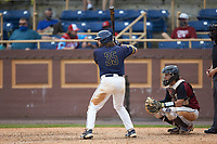 Grant Tilley (35) of the North Carolina A&T Aggies at bat against the North Carolina Central Eagles at Durham Athletic Park on April 10, 2021 in Durham, North Carolina. (Brian Westerholt/Four Seam Images)