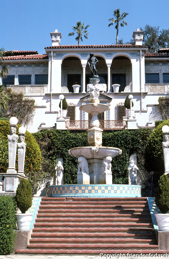 Hearst Castle: Stairway with sculptural fountain to castle. Photo '86.