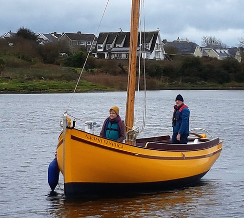 Smooth and silent – Naomh Fanchea under way in Kilrush Creek.  Photo: Steve Morris